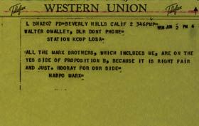 A June 2, 1958 telegram to Walter O'Malley from Harpo Marx, who had a lot to say.