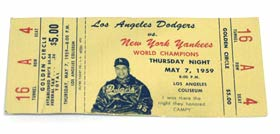 A special ticket with the photo of catcher Roy Campanella, who was honored during an exhibition game between the Dodgers and New York Yankees on May 7, 1959. A major league record crowd of 93,103 attended the game at the Los Angeles Memorial Coliseum.