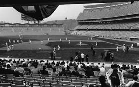Fans arrive early on the morning of April 10, 1962 for the Opening Day at Dodger Stadium.