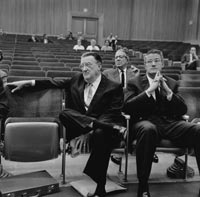 Walter and Peter O'Malley attend a County Board of Supervisors meeting on July 24, 1963 regarding the increased property taxes at Dodger Stadium.