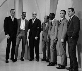 Television host Ed Sullivan (center) greets the 1965 National League Champion Dodgers on October 3. (L-R) Don Drysdale, Willie Davis, Manager Walter Alston, Lou Johnson, Jim Lefebvre and Ron Perranoski. The Dodgers went on to win the 1965 World Series against the Minnesota Twins in seven games.