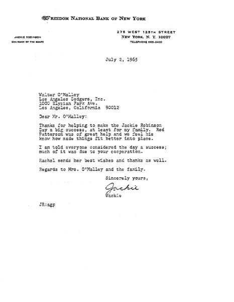 Letter from Jackie Robinson to Walter O'Malley