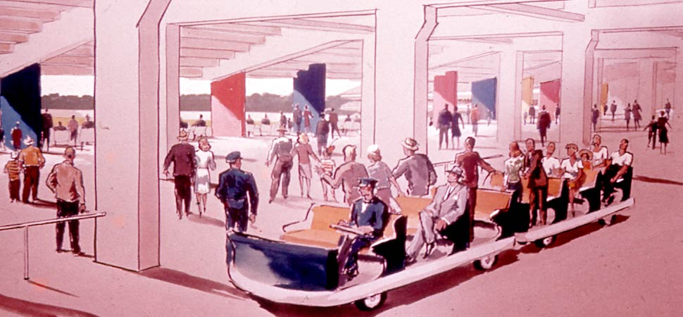 Early concepts of the new Dodger Stadium included ways to shuttle fans from the parking lots to their seats.