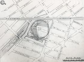 "Among the many plans for a ballpark, this blueprint outlined a proposed ""Flatbush stadium."""