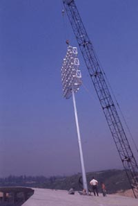 Installing the lights at Dodger Stadium.