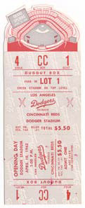 The Opening Day 1962 ticket features a special die-cut design of the new Dodger Stadium.