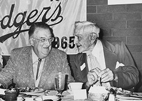 Walter O'Malley, left, and Casey Stengel, former Dodger player and manager, are at the Dodger Old Timers' Day luncheon on August 23, 1975 at the Stadium Club at Dodger Stadium. Stengel played for the Dodgers in 1912-17 and was manager from 1934-36. In 1966, the colorful Casey was inducted into the Baseball Hall of Fame.