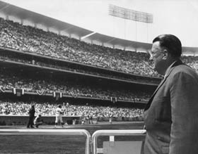 "Walter O'Malley reflects as his ""dream"" stadium becomes a reality on Opening Day 1962."