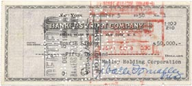 This check related to the transfer of the Dodger ballclub from Branch Rickey to Walter O'Malley. O'Malley paid $1,050,000 for Rickey's shares of stock.
