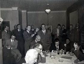 Walter O'Malley meets the press after becoming the President of the Brooklyn Dodgers on Oct. 26, 1950.
