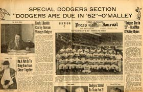 The Vero Beach Press Journal creates a lengthy special section in the paper as the 1952 Dodgers arrive.