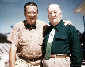 Walter O'Malley and his father Edwin celebrate St. Patrick's Day 1953 at brand new Holman Stadium.