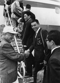 Walter O'Malley personally gives the Yomiuri Giants team a send-off, as it returns to Tokyo after gaining valuable training experience with the Dodgers in the spring of 1971..