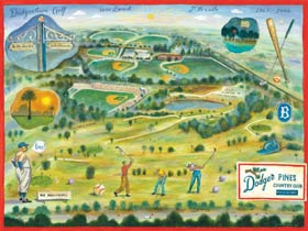 After baseball, one of Dodgertown's most popular activities for players and executives alike was golf. Walter O'Malley built two golf courses on the Dodgertown property (a nine-hole course in 1965 and an 18-hole course in 1972). This John S. Dykes illustration celebrates the golfing fun at Dodgertown.