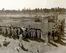 Dodgertown's old batting cages, where pitching machines threw strike after strike to Dodger hitters, preparing them for the upcoming season.