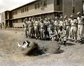 One of the many training areas at Dodgertown includes the sliding pits, with their sawdust and base.