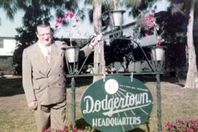 Walter O'Malley stands in front of the Dodgertown complex. His on-going desire to make improvements to the spring training site raised baseball's standard to a new level.