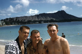Clem Labine (l-r), Don Zimmer and Gil Hodges take a break at Waikiki beach.