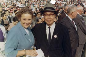 Kay O'Malley and Japanese sportswriter Sotaro Suzuki.