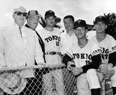 The Tokyo Yomiuri Giants made their first team appearance at Dodgertown in Vero Beach in 1961. They made subsequent visits in 1967, 1971 and 1975. In 1967, National League President Warren Giles, Walter O'Malley and Dodger interpreter and goodwill ambassador Ike Ikuhara greet some uniformed Giants players for training at Dodgertown.