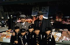 Sportswriter Sotaro Suzuki and Walter O'Malley visit with youngsters during the 1956 Dodger goodwill tour to Japan.