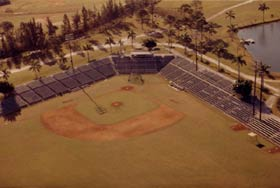 Holman Stadium in Vero Beach, FL opened in 1953 and was designed by Captain Emil Praeger, who also was the architect for Dodger Stadium construction.
