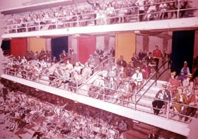 An artist's sketch of the multi-colored Club Level seating, located between the Loge and Reserved Levels at Dodger Stadium.