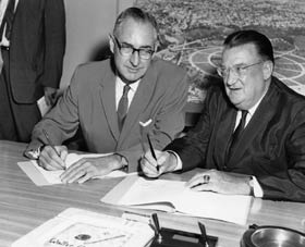 "A.S. ""Al"" Vinnell signs the contracts to begin the construction of Dodger Stadium on Aug. 25, 1960."