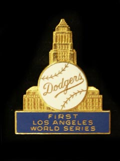 "The collectible Dodger Press Pin from the 1959 World Series depicts a unique background of Los Angeles City Hall, with the words ""First Los Angeles World Series""."