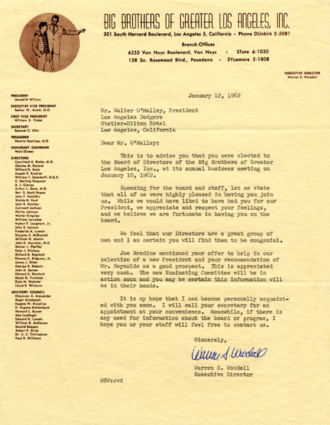 Letter from Warren S. Woodall to Walter O'Malley