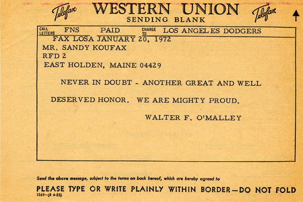 Telegram from Walter O'Malley to Sandy Koufax