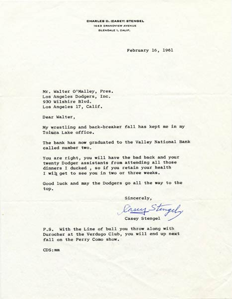 Letter from Casey Stengel to Walter O'Malley