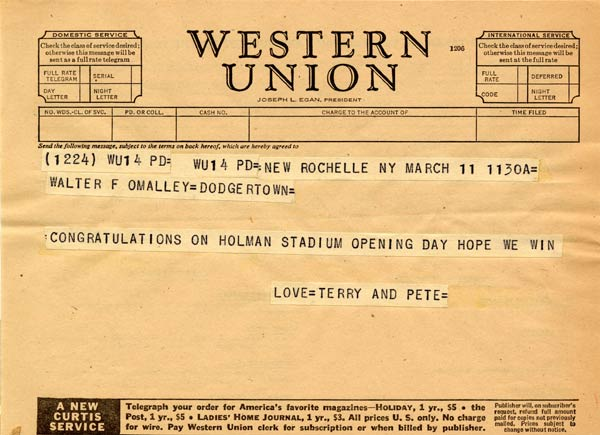 Telegram from Terry and Peter to Walter O'Malley