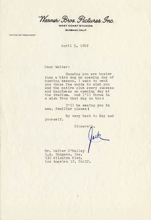 Letter from Jack Warner to Walter O'Malley