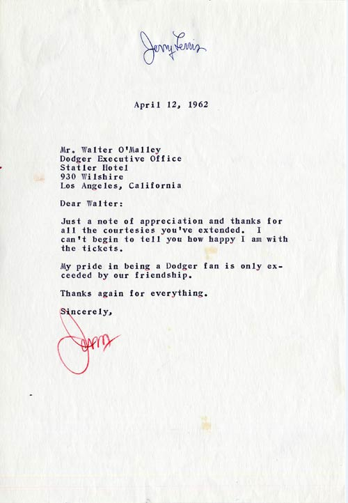 Letter from Jerry Lewis to Walter O'Malley