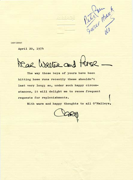 Letter from Cary Grant to Walter O'MalleyActor Cary Grant was on the board of directors of the perfume company Faberge. The actor generously supplied Walter O'Malley with miniature Faberge perfume bottles. When a Dodger player hit a home run at Dodger Stadium during the 1974 season, O'Malley would provide his guests with a sample bottle. The Dodgers were first in the National League in home runs that Pennant-winning season, so the supply of perfume was always running low.