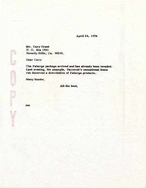 Letter from Walter O'Malley to Cary Grant