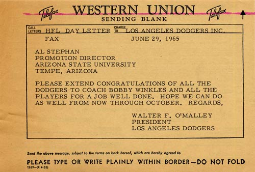 Telegram from Walter O'Malley to Al Stephan