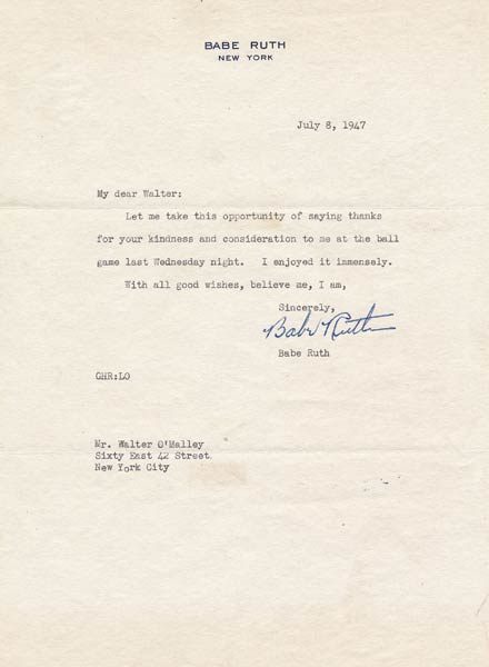 Letter from Babe Ruth to Walter O'Malley