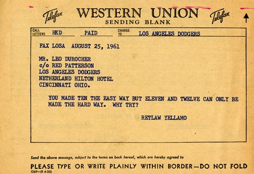 Telegram from Retlaw Yellamo to Leo Durocher