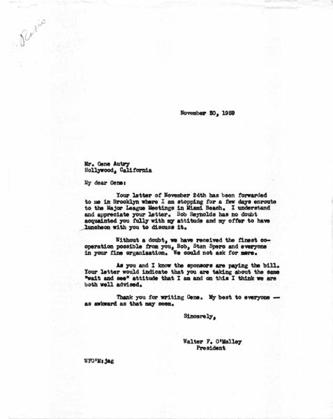 Letter from Walter O'Malley to Gene Autry