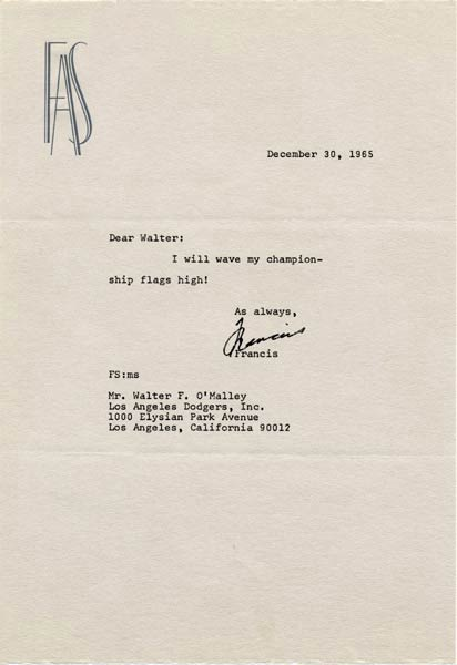 Letter from Frank Sinatra to Walter O'MalleyAfter the Dodgers won the third World Championship in Los Angeles, Walter O'Malley sent an assortment of Dodger miniature championship flags with a holder to various friends, as Frank Sinatra responds.