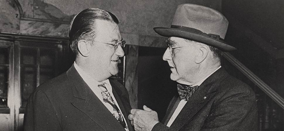 Walter O'Malley and Branch Rickey circa 1945.