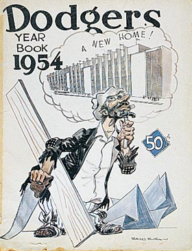 "The Dodgers' 1954 yearbook features the Brooklyn ""Bum"" character, who dreams of a new ballpark."
