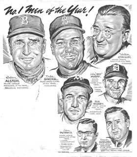 Among the 1955 <em>Sporting News</em> &#8220;Men of the Year&#8221; are Dodger Manager Walter Alston, outfielder Duke Snider and team President Walter O&#8217;Malley. with the Commission in hopes of acquiring property for a privately financed ballpark.
