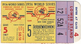Game 5 of the 1956 World Series at Yankee Stadium resulted in the only perfect game in postseason history, Don Larsen's 97-pitch masterpiece over the Brooklyn Dodgers during a 2-0 victory.