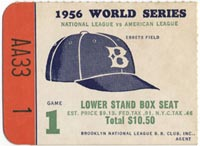 1956 World Series ticket from Game 1.