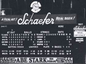 The right field scoreboard at Brooklyn's Ebbets Field.