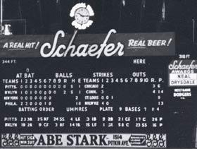 The right field scoreboard at Brooklyn's Ebbets Field.
