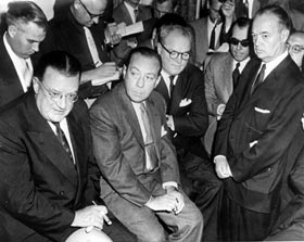 Early in the 1957 season, it was unclear whether the Dodgers and Giants would remain in New York or find a new home. The Giants considered moving to the St. Paul-Minneapolis area, the site of their Triple-A farm club. (L-R) Dodger President Walter O'Malley, New York Mayor Robert Wagner, Giants owner Horace Stoneham and Brooklyn Borough President John Cashmore appear at a June 4 press conference.